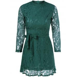 Belted Sheer Lace Dress