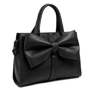 PU Leather Bow Zipper Tote Bag - Black - 37