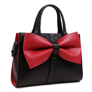 Color Block Bowknot PU Leather Tote Bag - Red With Black - 37