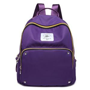 Zippers Rivets Nylon Backpack - Purple