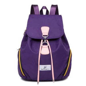 Nylon Drawstring Zippers Backpack - Purple