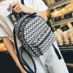 Color Block Zigzag Pattern Rivets Backpack