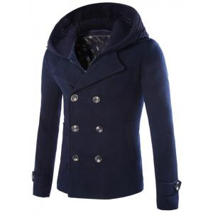Detachable Knitting Hooded Double-Breasted Zip-Up Woolen Coat
