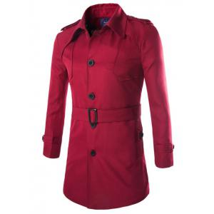 Turn-Down Collar Epaulet Design Lengthen Single-Breasted Coat