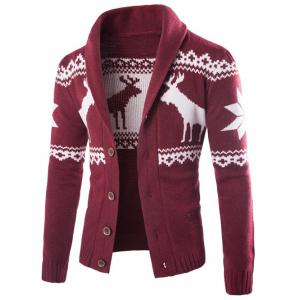 Shawl Collar Ethnic Elk Print Button Up Cardigan - Wine Red - M