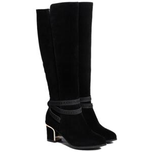 Suede Cross Straps Zipper Knee High Boots - Black - 37