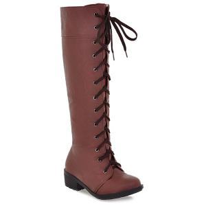 PU Leather Lace Up Low Heel Boots