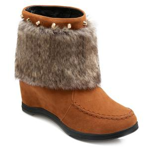 Faux Fur Hidden Wedge Studded Short Boots