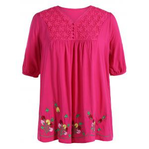 Plus Size V Neck Flower Mexican Embroidered Blouse - Rose Madder - 2xl