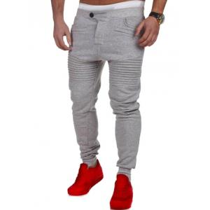 Casual Pleated Insert Buttoned Jogger Pants - Light Gray - M