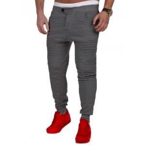 Casual Pleated Insert Buttoned Jogger Pants - Deep Gray - S