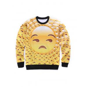 Round Neck 3D Emoji Face Print Long Sleeve Sweatshirt - Yellow - S