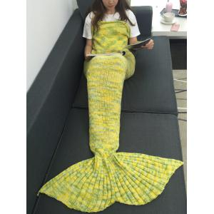 Warmth Acrylic Knitted Multi-Colored Mermaid Tail Blanket
