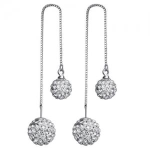 Pair of Rhinestone Ball Ear Threads