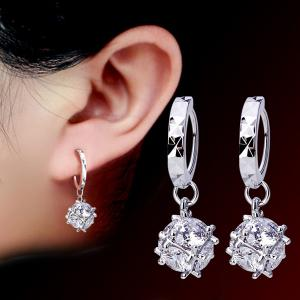Candy Shape Faux Crystal Drop Earrings - Silver