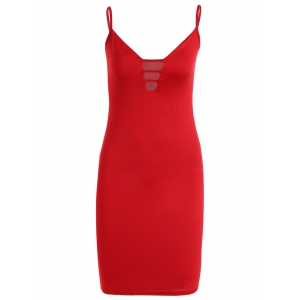 Cutout Fitted Midi Slip Dress - Red - S