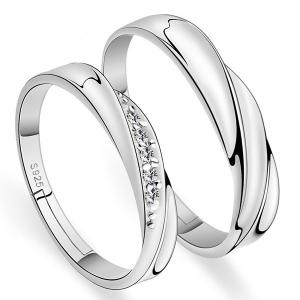 Brief Polished Rhinestone Couple Rings