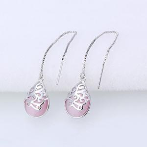Waterdrop Faux Gem Chain Earrings