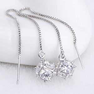 Rhinestone Inlaid Pendant Chain Earrings