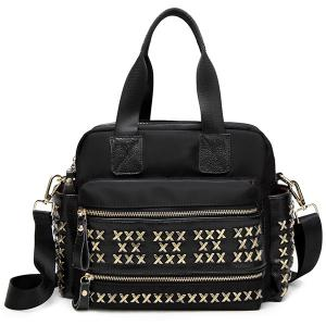 Metallic Criss-Cross PU Spliced Tote Bag