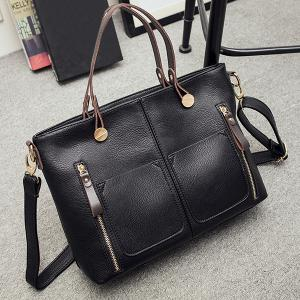 Multi Zips PU Leather Handbag