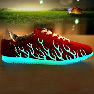 Lace Up Suede Night Growing Fluorescent Shoes - Red - 40