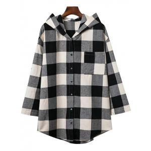 Hooded Oversized Long Flannel Shirt