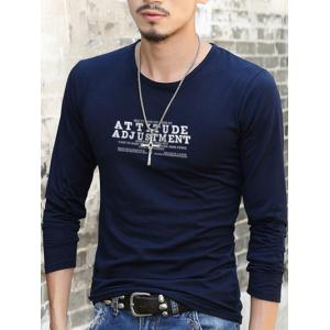 Slim Fit Round Neck Letter Printed T-Shirt