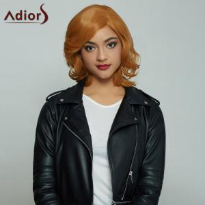 Adiors Short Double Color Side Bang Fluffy Curly Synthetic Capless Wig