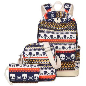Canvas Geometric Skull Print Backpack
