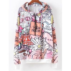 Cartoon Letter Pattern Hoodie - Colormix - M