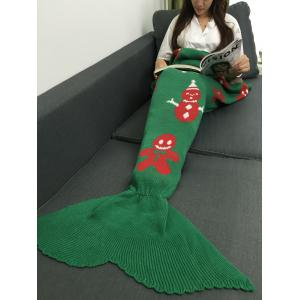 Snow Man Design Knitted Christmas Mermaid Tail Blanket - Green - M