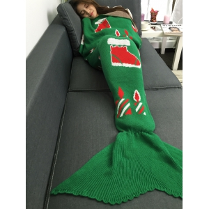 Christmas Gift and Snow Man Knitted Mermaid Tail Blanket - Green - M