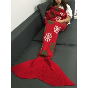 Christmas Snows Design Knitted Mermaid Tail Blanket - Red - M