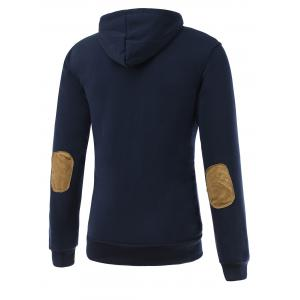 Elbow Patch Long Sleeve Drawstring Pullover Hoodie -
