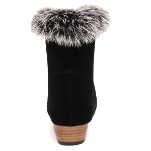Low Heel Faux Fur Suede Ankle Boots -