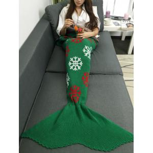Christmas Snows Design Knitted Mermaid Tail Blanket - Green - M