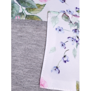 One Pocket Floral Splicing T-Shirt -