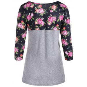 One Pocket 3D Floral Splicing T-Shirt - GRAY XL