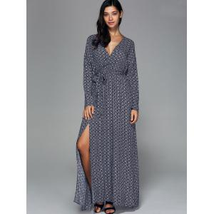 Bohemian High Slit Long Sleeve Surplice Dress - PURPLISH BLUE M