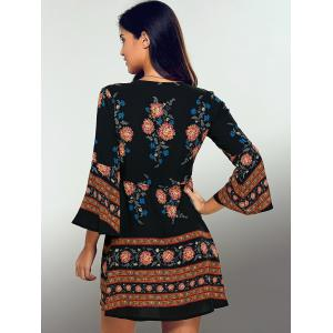 Long Sleeve Deep V A Line Floral Dress - BLACK L
