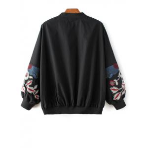 Floral Embroidered Puffed Sleeve Pilot Jacket - BLACK L