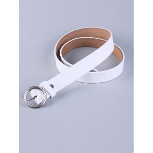 All Match Round Pin Buckle Faux Leather Belt -