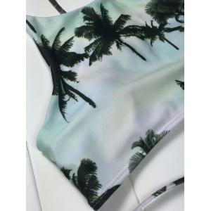 High Neck Tropical Print Bikini - COLORMIX L