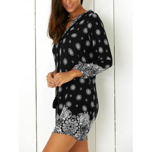 Tribal Print Casual Going Out Shift Dress - BLACK L