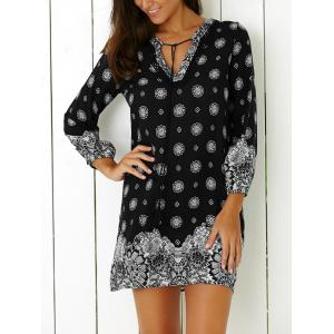 Tribal Print Casual Going Out Shift Dress - BLACK 2XL