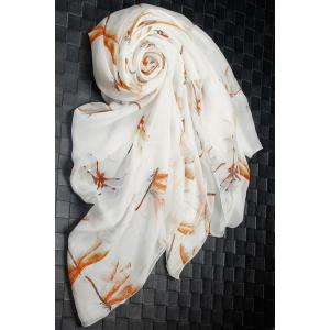 Casual Dragonfly Print Chiffon Scarf - Off-white - S