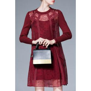 See-Through Long Sleeve Shift Dress with Slip Dress - CLARET M