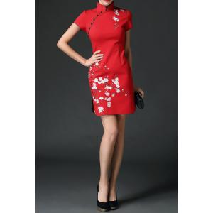Wedding Dress Mini Embroidered Cheongsam - RED XL