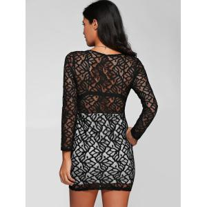 Long Sleeve Plunge See-Through Lace Tight Pencil Dress - BLACK XL